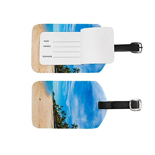 Luggage Tags Address Name Holder,2Pcs Portable Identifier Label Set Checked Card Bag Decoration Travel Gear Gifts,Beach Blue for Suitcases Bags