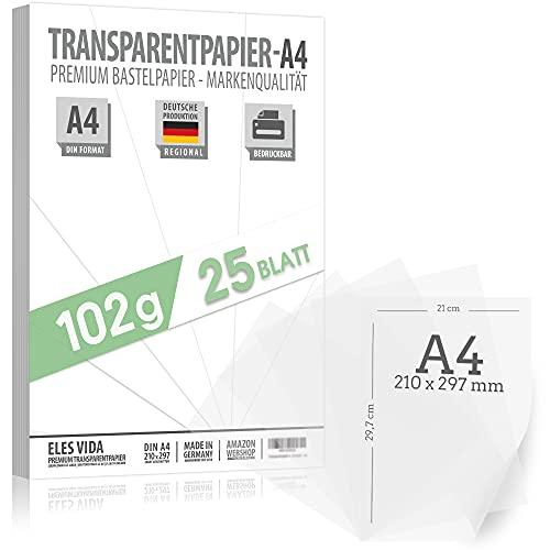 25 Blatt Transparenz Papier 102 g/m² A4 in 21 x 29,7 cm – Naturpauspapiere – Polypropylen Papier – MADE IN GERMANY – Drachenpapier – Laternenpapier – Architektenpapier für Schule und Studium