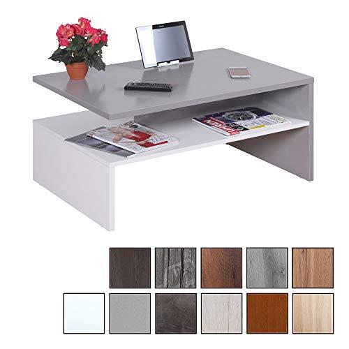 RICOO WM080-W-PL, Kleiner Tisch, 90 x 60 x 42 cm, Holz Hell Weiß und Platin Hell-Grau, Fernseher TV Wohnzimmer-Tisch, Couch-Tisch mit Stauraum