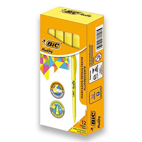 Marcador de Texto Fluorescente BIC Marking, Ponta Chanfrada, 1.5-3.5mm, Amarelo, 854815, 12 Unidades
