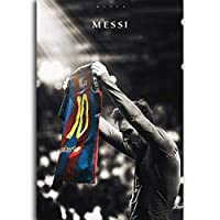 メッシサッカーサッカースーパークラシックプリントキャンバス絵画壁アートポスター装飾-50×75センチフレームなし
