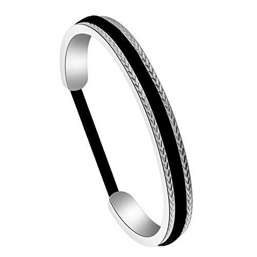 Hair Tie Bracelet Stainless Steel Grooved Cuff Bangle For Women Girls (Less Than -S)