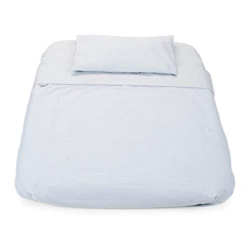 Chicco - Juego de sábanas 4 Piezas - Ajustable para Mini Cuna next2me: sábana Bajera + Funda edredón + Funda Almohada, 50 x 83 cm, Color Gris Rallas (Grey Stripes), Unisex