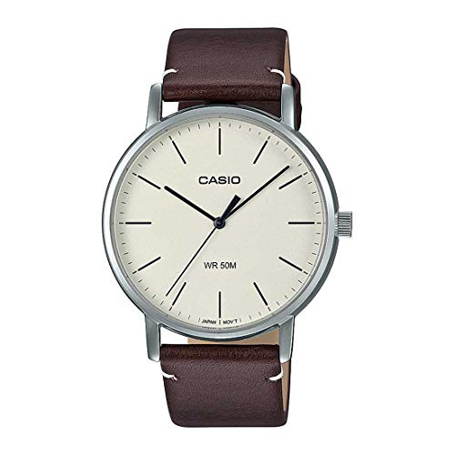 Casio MTP-E171L-5EV Men's Minimalistic Beige Dial Brown Leather Band Casual 3-Hand Analog Dress Watch