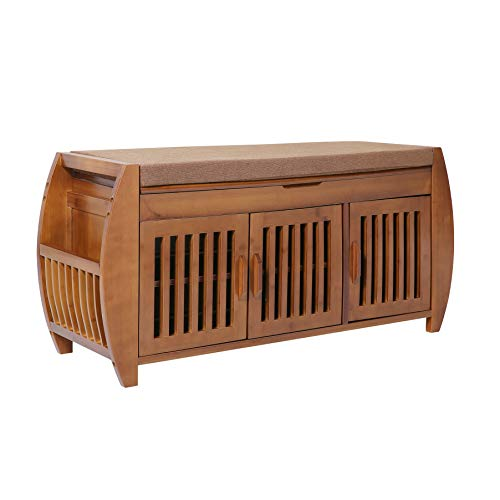 Bamboo Shoe rack & Shoe Bench & Shoe Cabinet Storage Benches, Entryway Storage Organizer, Hallway Bathroom Living Room Corridor and Garden,Detachable Cushion with Hidden storage compartment