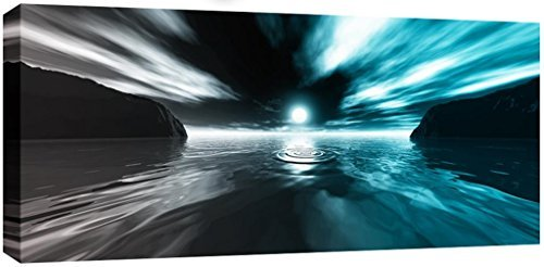 Large Teal Grey Sunset Sea Canvas Picture 44 x 20 inches ready to hang 3cm frame depth UK company by WALL ART INTERIORS