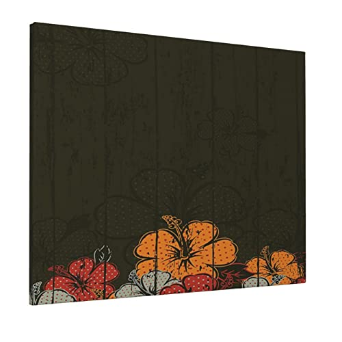 M-shop Pittura 40,6 x 50,8 cm Floreale Astratto Fondo In Legno Con Fiori Romantico Hawaii Germogli Fioriture Foglie Es Ambra Rosso Esercito Verde Panoramica Tela Wall Art