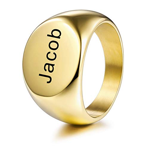 MeMeDIY Personalized Engraved Initial Monogram Oval Signet Ring for Men Women Boys Customize Stainless Steel Letter Rings Jewelry, Bundle with Ring Size Adjusters (Gold)