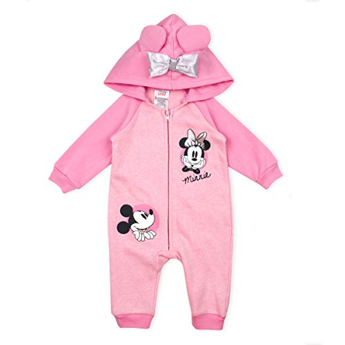 Disney Baby Girl Minnie Mouse Coverall Romper Onesie with Hood and 3D Mouse Ears, Pink- 0/3M