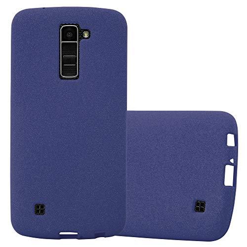 Cadorabo Funda para LG K10 2016 en Frost Azul Oscuro - Cubierta Proteccíon de Silicona TPU Delgada e Flexible con Antichoque - Gel Case Cover Carcasa Ligera