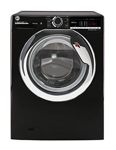 Hoover H-Wash 300 H3D41065TACBE Freestanding Washer Dryer, Large Capacity, 10 kg/6 kg, 1400 rpm, Black