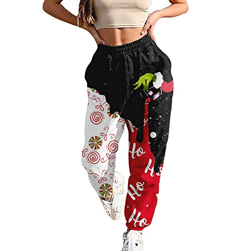 Fashion Women's Christmas Sweatpants Splicing Cartoon Plaid Print Loose Jogging Elastic Waist Pants with Pockets (Black White, XL)