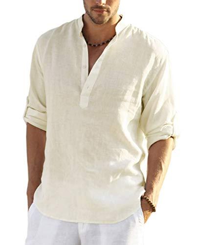 COOFANDY Men's Cotton Linen Henley Shirt Long Sleeve Hippie Casual Beach T Shirts (S, Beige)