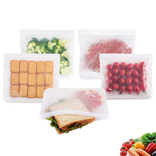 Reusable Sandwich Bags,Luxital 5 Pack Ziplock Storage Bags, EXTRA THICK Grade PEVA Leakproof Lunch bage for Hamburger | Marinate Meats | Fruit | Sandwich | Snack | Travel