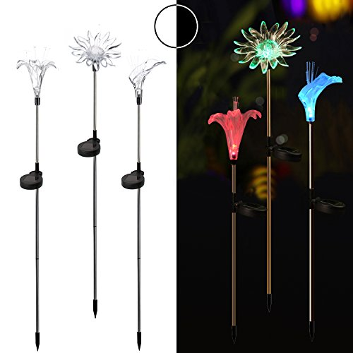 Homemory Solar Stake Lights, Color Changing Garden Lights, 3PCS on Stainless Steel Stake, Lily, Sun flower, Decor for Fence, Yard, gardens, Flowerbed