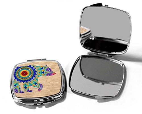 Gekleurde beer compacte zak handtas make-up spiegel