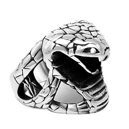 Anillo Titanio Hombre Fiesta de Banda con Forma de Cobra Todos Los Días, WLG, acero, talla 11