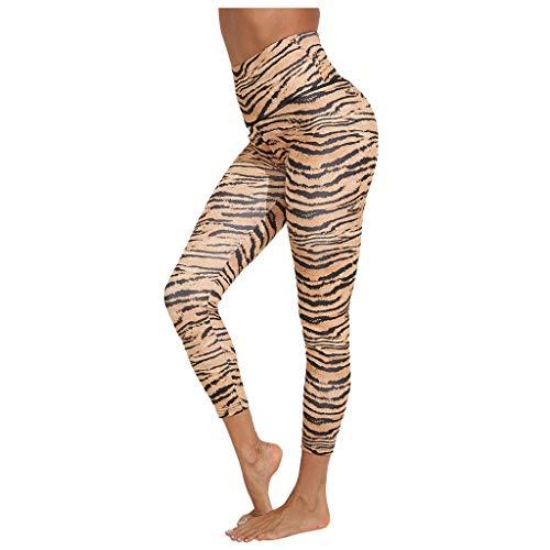 WFRAU Leopardenmuster Gym Yoga Schlauch für Frauen, Damen Hohlkreuz Bandage Atmungsaktive Bauchkontrolle Legging Sporthose Hohe Taille Hüftstretch Workout Running Track Bottoms