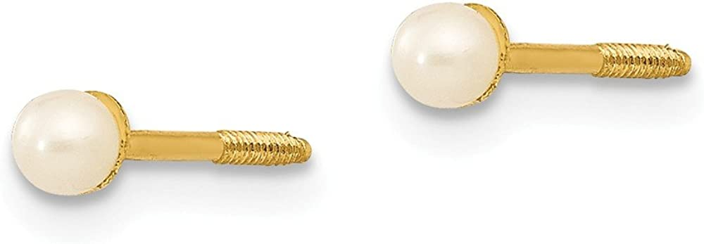 14k Yellow Gold 3mm Button Freshwater Cultured Pearl Screwback Post Stud Earrings Ball Fine Jewelry For Women Gifts For Her