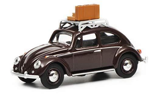 Schuco 452017000 VW Käfer mit Dachgepäckträger und Gepäck, Modellauto, 1:64, dunkelrot, schwarz