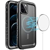Cozycase Compatible with iPhone 12 Pro Max Magsafe Case - Waterproof Built-in Screen Protector & Magnets Circle, Full Body Shockproof Dustproof Magnetic Case Compatible iPhone 12 Pro Max 6.7' (Black)