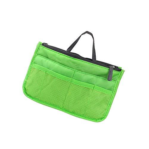 Organizador de cosméticos multifunción de gran capacidad, portátil, organizador de bolsillo para cosméticos, 12 bolsillos, color verde