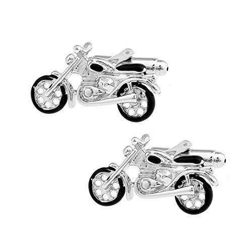 Daesar Männer Manschettenknopf Hemd Silber Motorrad Herren Manschettenknöpfe Hemd Edelstahl mit Geschenk Box