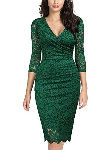 Miusol Women's Retro Deep-V Neck Ruffles Floral Lace Evening Pencil Dress (Large, E-Dark Green)