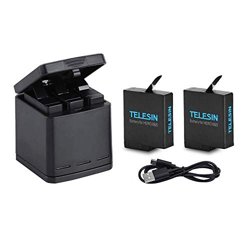 TELESIN 3-Kanal-Ladegerät mit 2 akkus, usb type c kabel für GoPro Hero 2018, Hero 5, HERO6, HERO7 Black-Triple Charger Batterie Kit