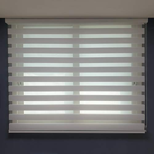 of custom accessories blinds YUYEON Nyunu [ Natural White, W21 1/2 x H64 ], Custom Cut Zebra Roller Window Blinds, Woodlook Fabric Dual Layer Windows Blind Perfect for Living Room/Bedroom/Kitchen
