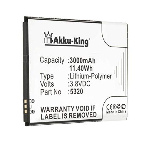 Akku-King Akku kompatibel mit Wiko 5320 - Li-Polymer 3000mAh - für Ridge Fab, Ridge Fab 4G, Casper Via V6, V6X