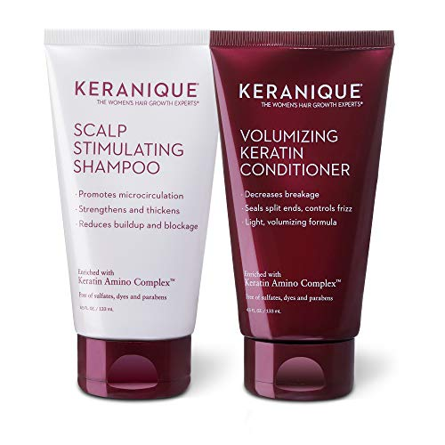 Keranique Keratin Shampoo and Conditioner Set for Fine Thinning Hair, Sulfates/Parabens Free, stimulates scalp to nourish/rejuvenate hair follicles for healthy Thicker Fuller Hair 4.5 OZ each