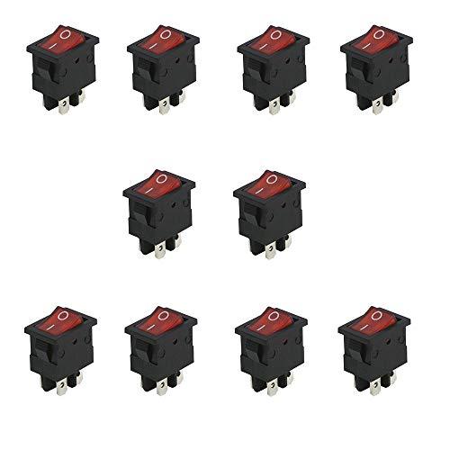 10X Mini Interruptor Rectangular Basculante Rojo iluminado ON/OFF 3 polos con luz 220V