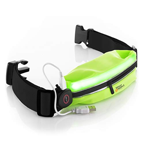 sport2people LED Reflective Running Belt Pouch with USB Rechargeable Light - Key, iPhone X 6 7 8 Plus Cell Phone Holder for Runners - Best Visibility During Walking and Cycling (Fluo Green)