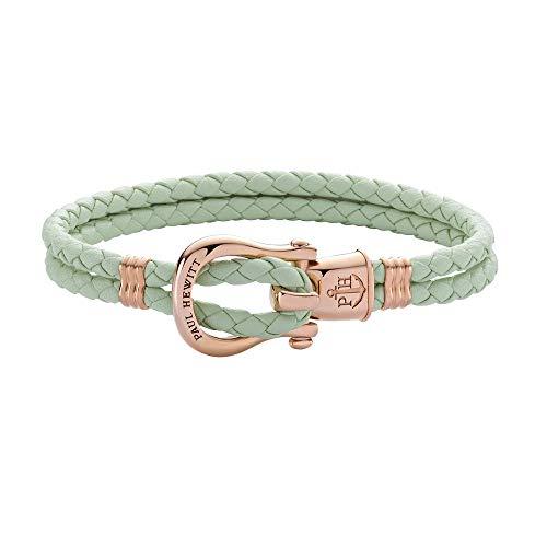 PAUL HEWITT Schäkel Armband Damen PHINITY - Leder Armband Frauen (Mint), Armband Damen mit Schäkel Verschluss aus IP-Edelstahl (Rosegold)
