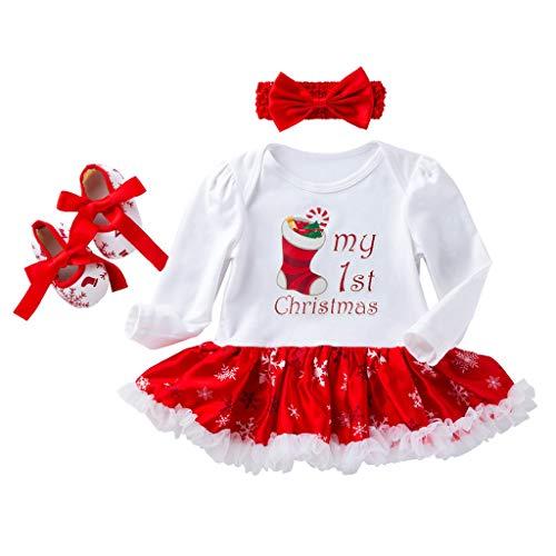 Baohooya Vestido Navideño de Manga Larga Bebe Niñas - Disfraz Niños Invierno Alfabeto de Copo de Nieve de Navidad Conjuntos Mono + Diadema + Zapatos