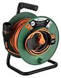 Electraline 49248 Cable Alargador con Enrollacables para Jardín 40M 2x1.5 con Toma de corriente Electralock europea equipado con un mecanismo de bloqueo que evita la desconexión accidental del enchufe
