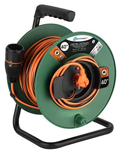 Electraline 49248 Cable Alargador con Enrollacables para Jardín 40M 2x1.5 con Toma de corriente Electralock europea equipado con un mecanismo de bloqueo que evita la desconexión accidental del
