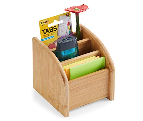 Desk Organizer 3 Tier Bamboo Mini Desk Storage for Office Supplies, Toiletries, Crafts, Great for Desk, Vanity, Tabletop in Home or Office Makeup Organizer by: BOOKAHOLIC