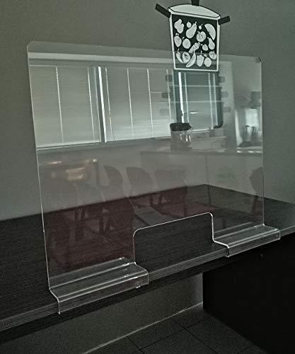 Fimel barriera parafiato di Protezione per scrivania Realizzata in plexiglass Spessore 5 mm in Un Unico Pezzo Misura L.80XH60 CM Foro passacarte L.30XH 10 CM