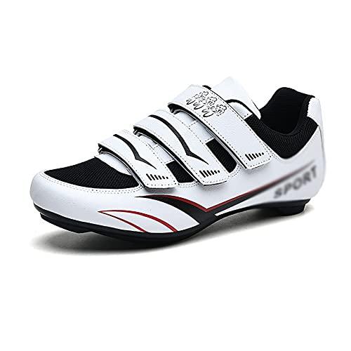 Zapatillas De Ciclismo Para Carretera,Zapatillas De Bicicleta De Montaña Transpirables,para Carretera, Con Suela De Carbono,Muy Rigida Y Ligera Y Triple Tira De Velcro ( Color : Black , Size : F )