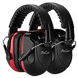 ProCase [2個セット]大人用 防音イヤーマフ、遮音 調整可能なヘッドバンド付き 耳カバー 耳あて 聴覚保護ヘッドフォン、ノイズ減少率:NRR 28dB -レッド/2個