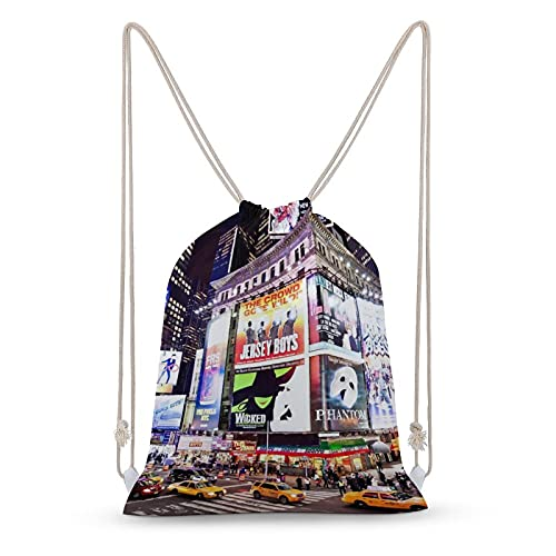 GKGYGZL Mochila con cordón Mochila con cordón Mochila deportiva de lona Mochila deportiva,Ciudad Nueva York iluminadas fachadas de teatros de Broadway en,Hombres,Mujeres Adolescentes