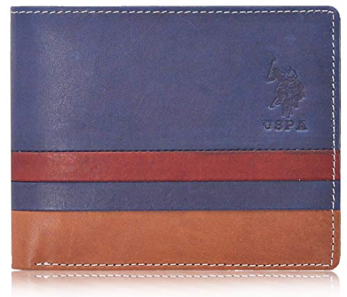 U.S. Polo Assn. Leather Wallet for Men (Blue)
