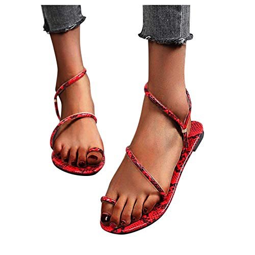 ZYAPCNGN Flip Flop for Women s Flat-Bottom Large Size Beach Shoes Flip Finger Sandals Slippers Gifts for Women Red