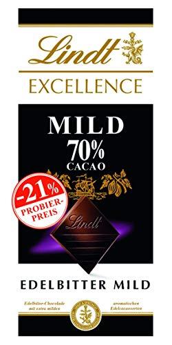 Lindt Excellence Schokoladentafel, milde Edelbitter-Schokolade mit 70% Kakao (vegan, glutenfrei, laktosefrei), Promotion, 5er-Pack, (5 x 100 g)
