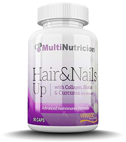 Hair & Nails Up con Colageno Hidrolizado Verisol | Biotina | PABA | Curcuma | Curcubita Pepo | Metionina | Cisteina | 90 Capsulas