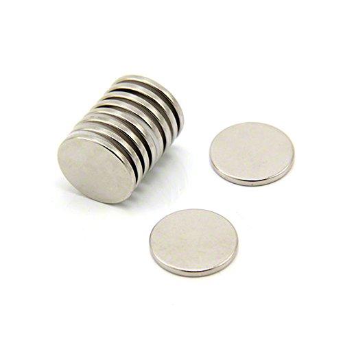 first4magnets F405 - N35-10 20 mm diámetro x 2 mm de grosor N35 imán de neodimio con 2,3 kg tirador (10 unidades)