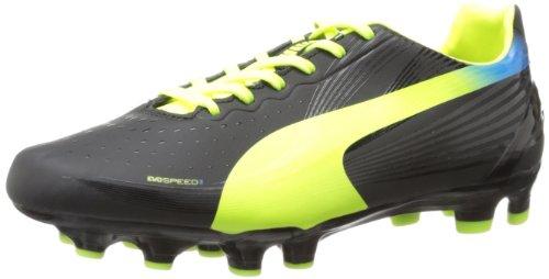 PUMA Evospeed 3.2 FG Soccer Cleat (Little Kid/Big Kid),Black Fluorescent Yellow,6 M US Big Kid