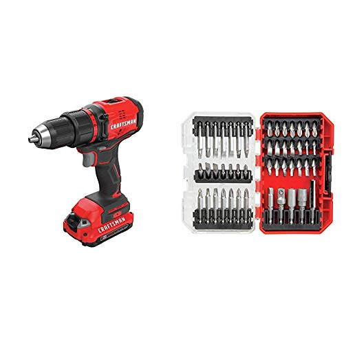 CRAFTSMAN V20 Cordless Drill/Driver Kit, Brushless with Drill Bit Set, 47 Pieces (CMCD710C2 & CMAF1247)